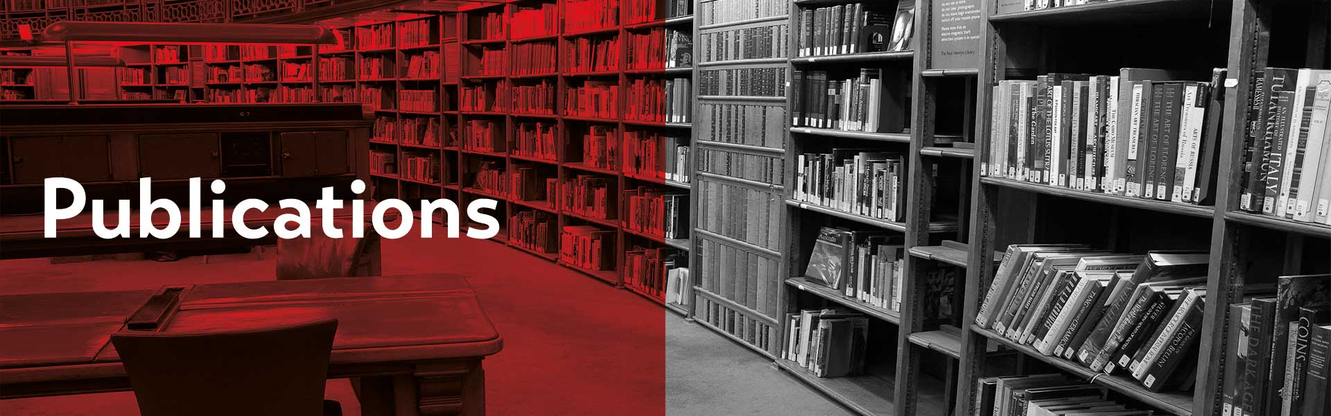 "The left side of the image is colored red with the title ""Publication"". In the background you can see an old library with two reading chairs in the front and a spacious wall of books."