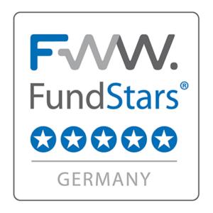 FWW FundStars Auszeichnung für die ALPORA AG. Die Bewertung ist fünf von fünf Sternen.