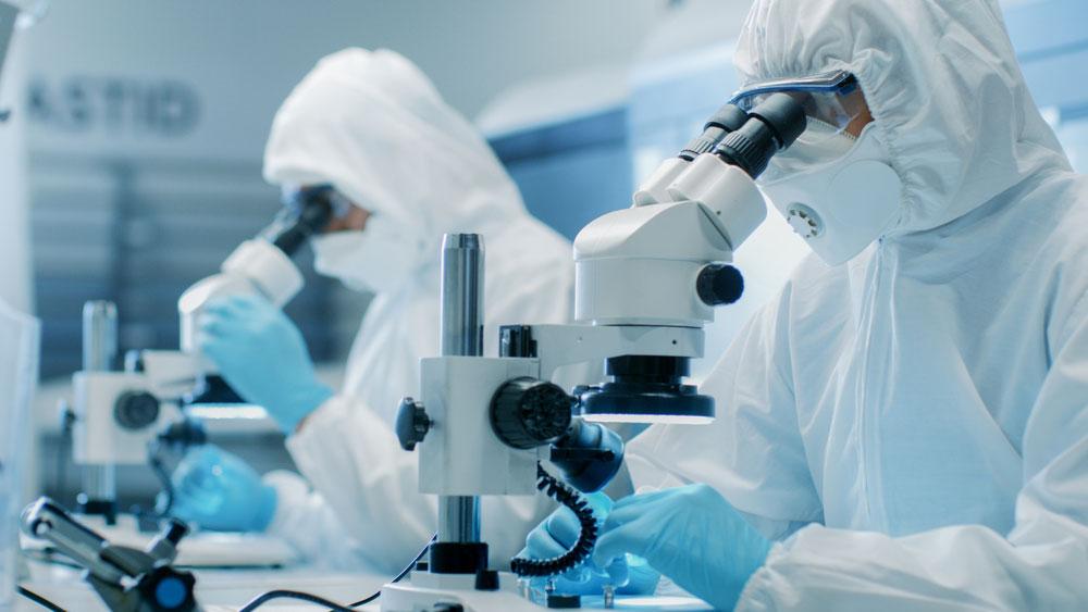 Labormitarbeiter am Mikroskop mit Schutzausrüstung innerhalb eines sauberen Labors